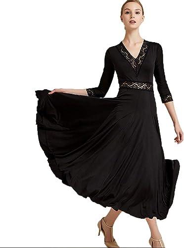Haut Grade Robe de Pratique de Danse de Salon pour Dames Col en V Classique Couture de Dentelle Robes de Collant de Valse Modernes Lisses élastiques