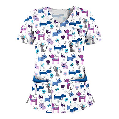 QiFei Das Neue Valentinstag Damen Pflege T-Shirts Bunt Kasack mit Tier Krankenhauskleidung Schlupfkasack Casual Kurzarm Arbeitskleidung Doppelt Taschen Krankenpfleger Nurse Uniformen