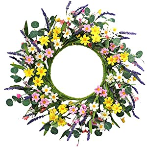 """Artificial Flower Wreath,20"""" Daisy and Lavender Wreath Floral Wreath Spring and Summer Wreath for Front Door Window Home Decor and Festival Celebration"""