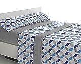 SABANALIA - Juego de sábanas de coralina Julia - Gris-Azul, Cama 105