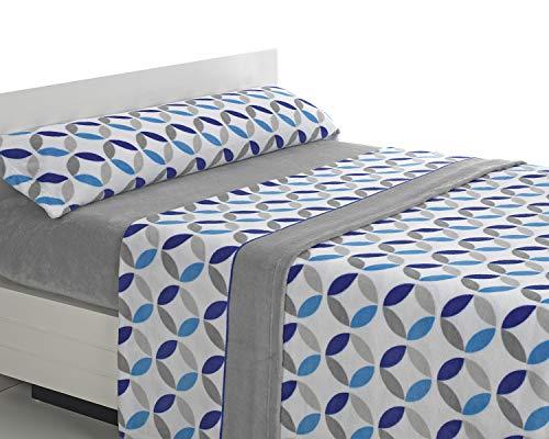 SABANALIA - Juego de sábanas de coralina Julia - Gris-Azul, Cama 150