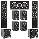 Elac 7.2 System with 2 Debut F5 Floorstanding Speakers, 1 Debut C5 Center Speaker, 4 Debut B5 Bookshelf Speakers, 2 Debut S10EQ Subwoofer