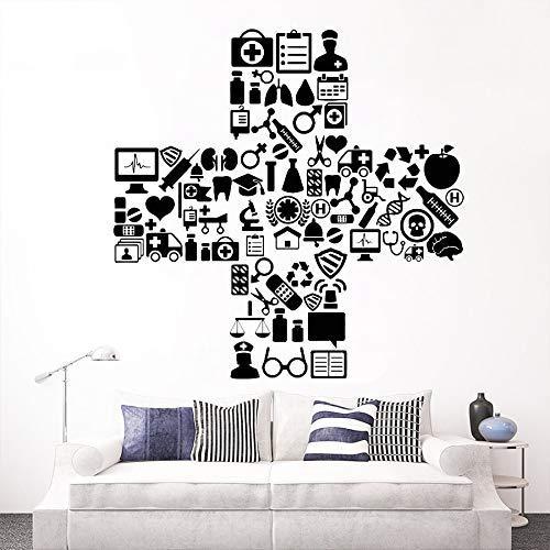 Vinyl Muursticker Medicine Ziekenhuis Symbool Kliniek Dokter Verpleegkundige Stickers voor Wandraam Glas Zelfklevende Posters 57 * 57cm