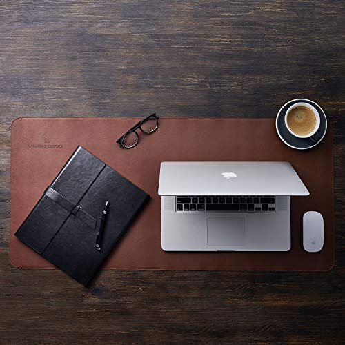 Gallaway Leather Desk Pad – 36 x 17 inch Large Mouse Pad - Desk Mat Home Office Desk Accessories Desktop Protector Non Slip Writing Desk Blotter (Dark Brown) Photo #7