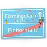Einhorn Flamingo Kunststoff Schild, Ortsschild - Ortstafel, süße Wanddeko, Deko Türschild...