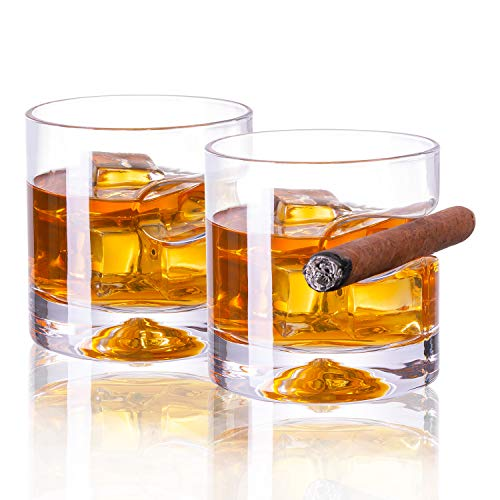 Vastto 11 Ounce Classic Cigar Whiskey Glass,for Bourbon, Scotch, Cocktail and Irish Whisky,Set of 2 (Clear)