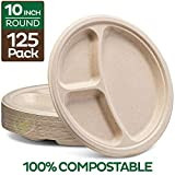 100% Compostable Paper Plates [10 inch - 125-Pack] 3 Compartment Disposable Plates Heavy-Duty...