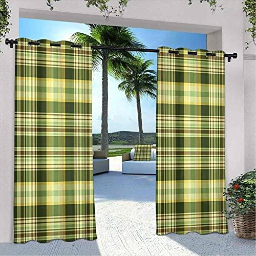 Cortinas de patio para exteriores, diseño tradicional escocés, a cuadros, geométrica, resistente a la intemperie, a prueba de decoloración, 120 x 84 pulgadas, color verde oscuro, amarillo y marrón