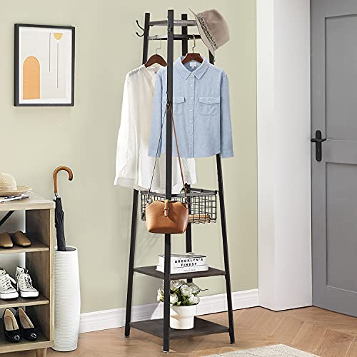 VECELO Coat Freestanding Entryway Clothes Stand, Purse Rack with Basket and 2 Shelves, Upgrade Hall Trees with 8 Dual Hooks, Vintage Brown+ Black