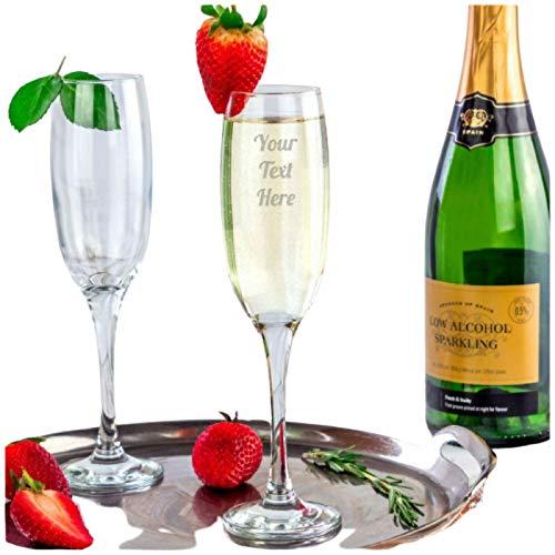 Be-Creative Copa de champán de Navidad con grabado personalizable, regalo de copa de champán Prosseco