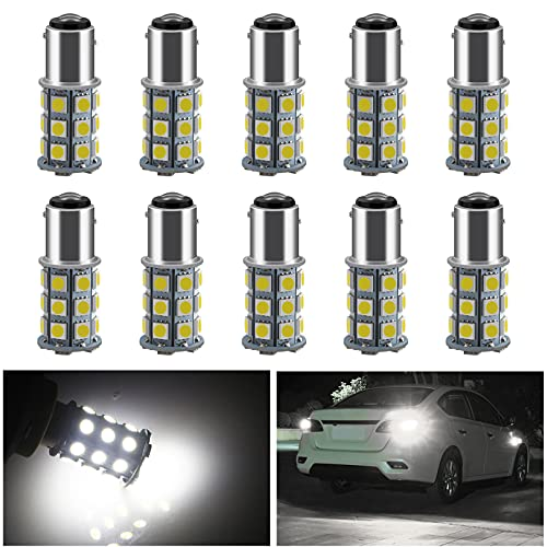 Everbrightt 10-Pack Turn Tail Signal Bulb S25 5050 1157 BAY15D White 27SMD LED Replacement Bulb for...