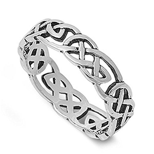 Sterling Silver Women's Men's Celtic Knot Infinity Ring Fashion Band Size 9