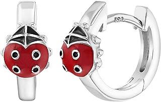 925 Sterling Silver Red Enamel Ladybug Hoop Earrings Huggie for Girls Teens
