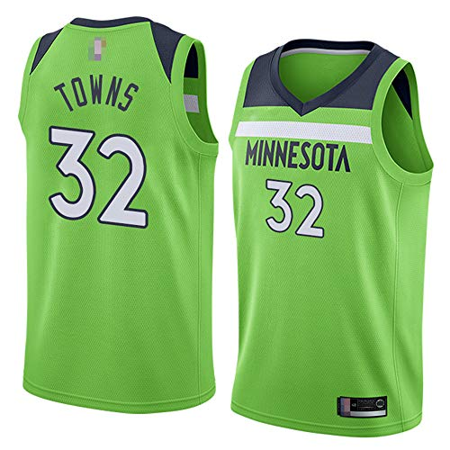 Männer Trikots, Minnesota Timberwolves # 32 Karl Anthony Towns - NBA Klassische Basketball Sportswear Lose Komfort Westen Tops Sleeveless T-Shirts Uniformen,Grün,M(170~175CM)