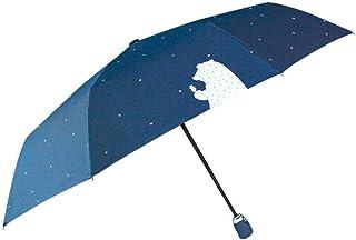 Rocomoco 折り畳み傘 日傘 傘 ワンタッチ UPF50+ 遮光率100% uvカット 雨傘 晴雨兼用 uvカット 自動開閉 8本骨 軽量 高強度 頑丈 可愛い ネイビー
