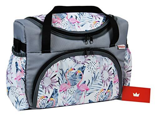 BABYLUX Wickeltasche Kinderwagentasche für Windeln Flaschen für Kinderwagen (68. Grau + Flamingo)