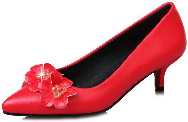 WeiPoot Women's Closed-Toe Microfiber Soild Kitten-Heels Pumps-shoes