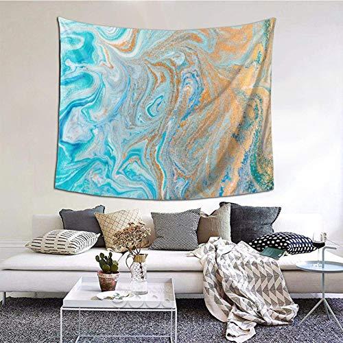 Tapiz para colgar en la pared, mármol turquesa, dorado, plateado, 156 x 150 cm, para colgar en el dormitorio, sala de estar, decoración del hogar