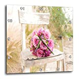 3dRose DPP_98629_1 Shabby Chic Image with Country Chair N Pink Roses Jpg Wall Clock, 10 by 10'