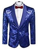 COOFANDY Men's Blue Sequin Blazer Shiny Dinner Jacket Floral Party Suit Bule Prom Tuxedo Stage Jackets S-XXXL