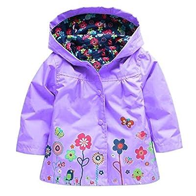 Wennikids Baby Girl Kid Waterproof Floral Hooded Coat Jacket Outwear Raincoat Hoodies,Purple,X-Large/120(4-5T)