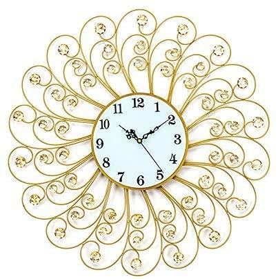 HIGHKAS Kristall Wanduhr Metall Sunburst Uhr Goldenes Glas Zifferblatt mit arabischen Zahlen für Home Decor Durchmesser 24 Zoll