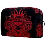 Bolsa de aseo con diseño de calavera de demonio rojo – Organizador de maquillaje grande para hombres y mujeres