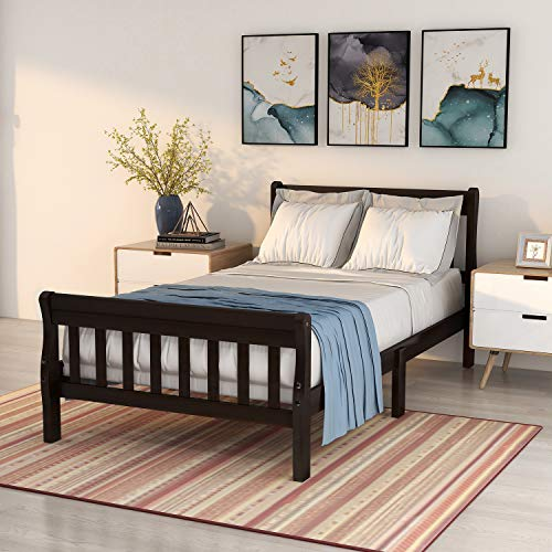 Festnight Wood Platform Bed Twin Bed Frame Panel Bed Mattress Foundation Sleigh Bed with Headboard/Footboard/Wood Slat Support