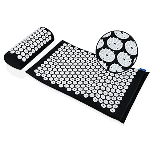 Mosswell® ergonomische Akupressurmatte mit Rückensupport   Akupressur-Set mit Akupressurkissen & Tasche   Für Anfänger geeignet