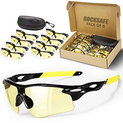 ROCKSAFE Safety Glasses (Amber) Polycarbonate Impact & Scratch Resistant, Wrap-Around UV-Block Protective Eyewear [8-Pack]