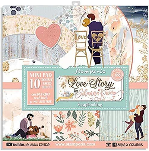 STAMPERIA Set de Scrapbooking Love Story Johanna Rivero 20x20cm, Verda, rosa, Regular