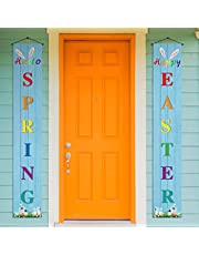 Easter Decoration Outdoor - Hello Spring&Happy Easter Porch Banner Spring Party Decoration Outdoor Indoor Front Door for Home Farmhouse Classroom