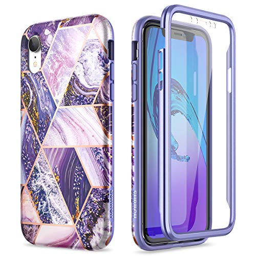SURITCH for iPhone XR Case with Built-in Screen Protector 360 Degree Full Body Protection Cover Bumper Shockproof Non Slip Case for iPhone XR(Purple)