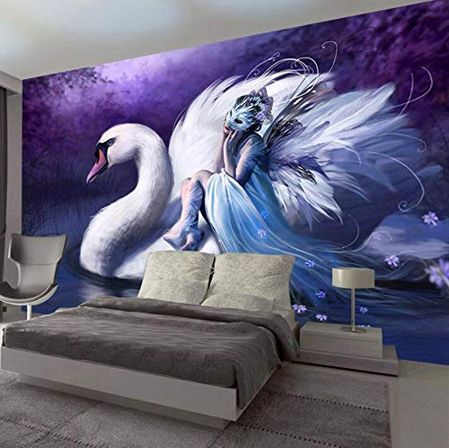 Custom 3D Wall Papers Home Decor Beautiful Girl Swan Mural Wallpaper Living Room Bedroom TV Backdrop Photo Wallpaper,400 * 280cm