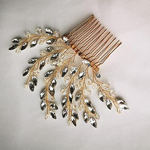 Peineta de cristal hecha a mano para boda, color dorado y plateado,...