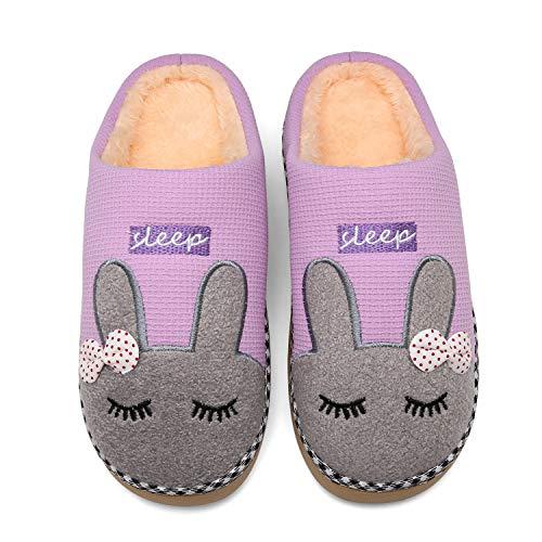 Mishansha Zapatillas Invierno Mujer Casa Zapatos Antideslizante CáLido Pantuflas Casa Cómodas Suave Slippers Morado Gr 36/37 EU