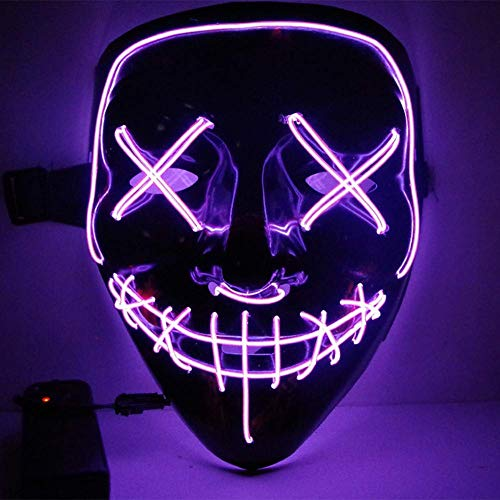 CANASOUR Halloween Mask Frightening Cosplay LED Light up Mask for Festival Cosplay Costume (Purple)