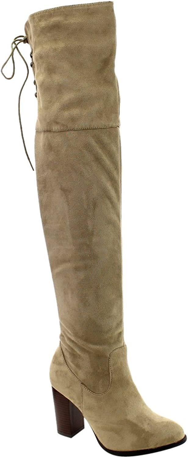 Qupid Zinc-01 Women's Lace Up Back Stretchy Over The Knee Stacked Chunky Boots