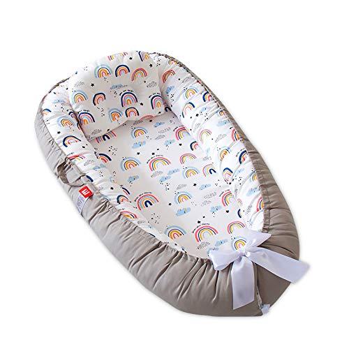 SONARIN Nido para Bebe Recién Nacido,Reductor de Cuna Nidos,Doble cara,Transpirable,100% Algodón hipoalergénico,con Almohada,Portátil(Rosa Arcoiris)