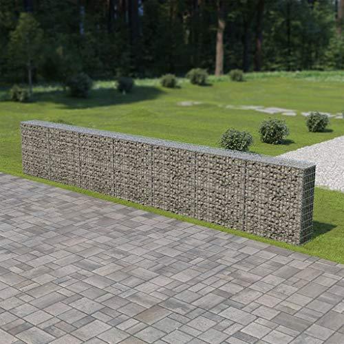 Tidyard Muro de gaviones con Cubiertas Acero galvanizado,Decorativos para Jardin 600x30x100 cm