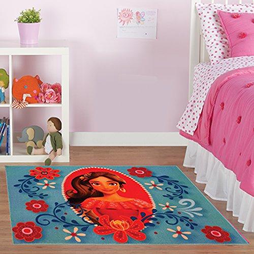 "Gertmenian Disney Princess Elena Avalor Rug HD Digital Girls Room Décor Bedding Floral Blue Area Rugs, 40"" x 54"", Cyan"