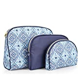Once Upon A Rose 3 Pc Cosmetic Bag Set, Purse Size Makeup Bag for Women, Toiletry Travel Bag, Makeup Organizer, Cosmetic Bag for Girls Zippered Pouch Set, Large, Medium, Small (Navy & Blue)