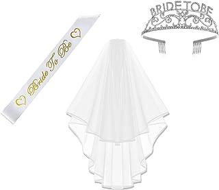 Amajoy - Juego de 3 Accesorios para Fiestas, diseño de Novia a Novia, satén, Tiara de Bachelorette y Flecha, Velo de Bachelorette con Peine, Color Blanco