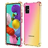 ROSAUI Case for Samsung Galaxy A51 Case Soft TPU Bumper Slim Shock Absorption Protective Case Gradient Transparent Phone Cover Anti-Scratch Case for Galaxy A51 [5G Version] (Gold-Pink)