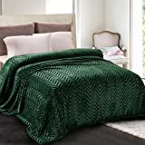Whale Flotilla Flannel Fleece Twin Size(90x66 Inch) Lightweight Bed Blanket, Soft Velvet Bedspread Plush Fluffy Coverlet Chevron Design Decorative Blanket for All Seasons, Dark Green