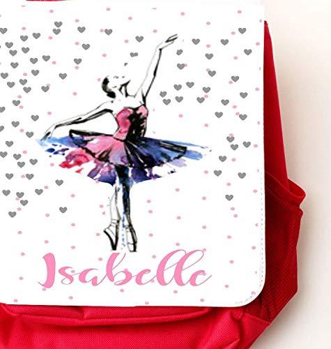 Kindergartenrucksack rot mit Namen für Mädchen Ballerina Prinzessin - mit Brustgurt/Kindergartentasche