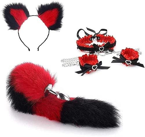 Fox Tail Bunny Bütt P-l-ǔ-g Set Collar Choker Rivet Chain, Fox Cat Ears with Maid Anime Stainless Steel Headband, Adult Tóys Flǐrtíng Er?tǐc Cosplay Kit(Small,Red)