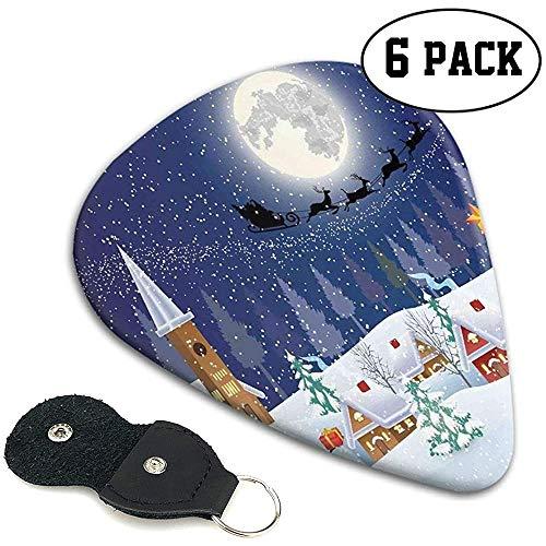 Gitaar Picks 6 stks,Winter Seizoen Sneeuwman Kerstboom Kerstman Slee Maan Present Boxen Sneeuw En Sterren.96mm