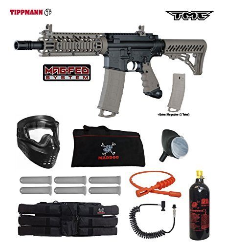Tippmann TMC MAGFED Corporal Paintball Gun Package - Black/Tan