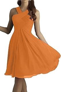 CladiyaDress Women Halter Neck Chiffon A Line Short Bridesmaid Dress Evening Gown D212LF
